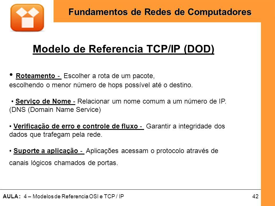 42AULA : 4 – Modelos de Referencia OSI e TCP / IP Fundamentos de Redes de Computadores Modelo de Referencia TCP/IP (DOD) Roteamento - Escolher a rota
