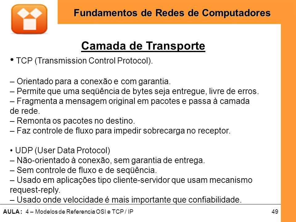 49AULA : 4 – Modelos de Referencia OSI e TCP / IP Fundamentos de Redes de Computadores Camada de Transporte TCP (Transmission Control Protocol). – Ori