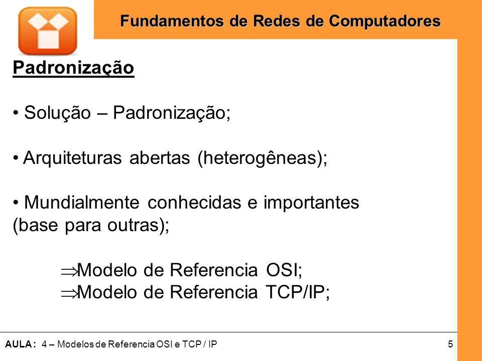 16AULA : 4 – Modelos de Referencia OSI e TCP / IP Fundamentos de Redes de Computadores Camada Física Responsável por transmitir seqüências de bits e garantir recebimento correto; Inserção de Sinais nos meios (Processos e Mecanismos); Parâmetros físicos das Interfaces (Cabos e Conectores e etc.); Conversão de Dados para Pulsos elétricos ou outros que irão passar pelos meios de transmissão.