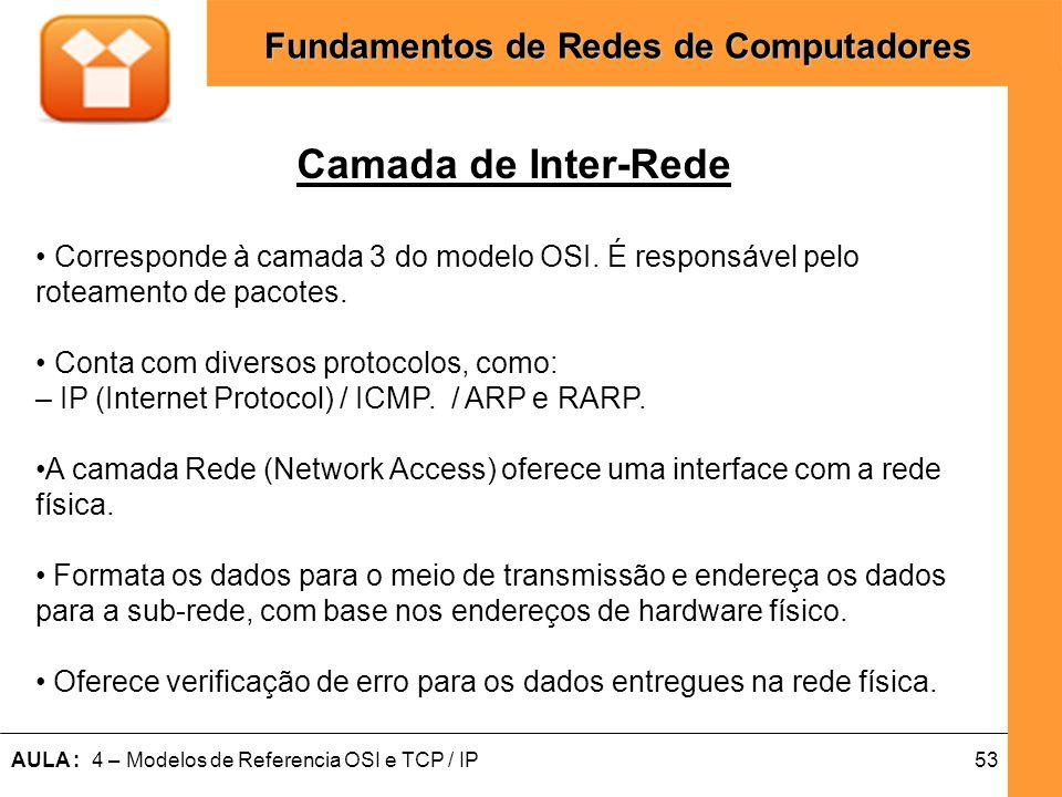 53AULA : 4 – Modelos de Referencia OSI e TCP / IP Fundamentos de Redes de Computadores Camada de Inter-Rede Corresponde à camada 3 do modelo OSI. É re