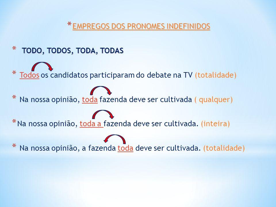 * EMPREGOS DOS PRONOMES INDEFINIDOS TODO, TODOS, TODA, TODAS * TODO, TODOS, TODA, TODAS * Todos os candidatos participaram do debate na TV (totalidade