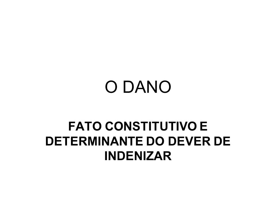 O DANO FATO CONSTITUTIVO E DETERMINANTE DO DEVER DE INDENIZAR