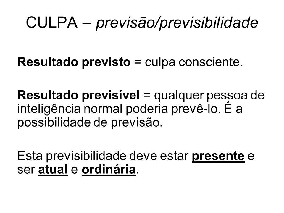 CULPA – previsão/previsibilidade Resultado previsto = culpa consciente. Resultado previsível = qualquer pessoa de inteligência normal poderia prevê-lo
