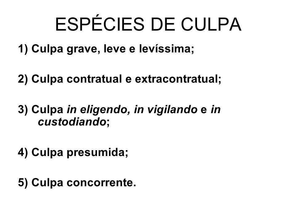 ESPÉCIES DE CULPA 1) Culpa grave, leve e levíssima; 2) Culpa contratual e extracontratual; 3) Culpa in eligendo, in vigilando e in custodiando; 4) Cul