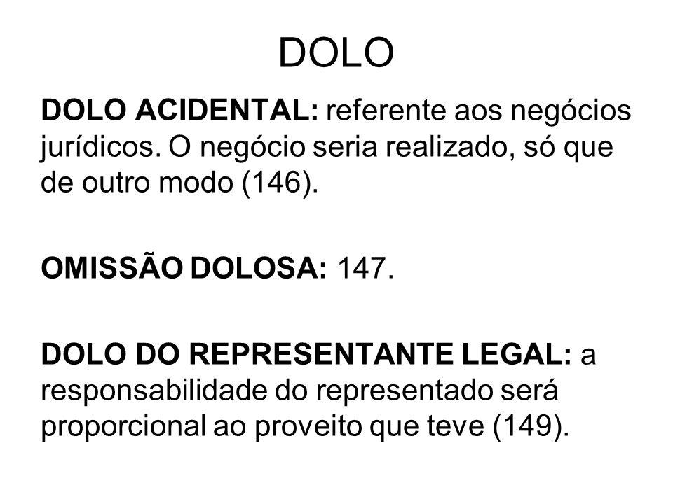 DOLO DOLO ACIDENTAL: referente aos negócios jurídicos. O negócio seria realizado, só que de outro modo (146). OMISSÃO DOLOSA: 147. DOLO DO REPRESENTAN