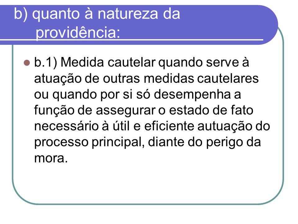 b) quanto à natureza da providência: b.1) Medida cautelar quando serve à atuação de outras medidas cautelares ou quando por si só desempenha a função