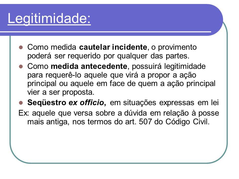 Legitimidade: Como medida cautelar incidente, o provimento poderá ser requerido por qualquer das partes. Como medida antecedente, possuirá legitimidad