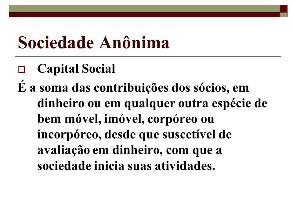 Sociedade Anônima Capital Social É a soma das contribuições dos sócios, em dinheiro ou em qualquer outra espécie de bem móvel, imóvel, corpóreo ou inc