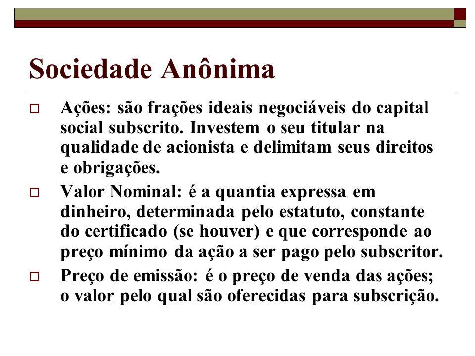 Sociedade Anônima Ações: são frações ideais negociáveis do capital social subscrito. Investem o seu titular na qualidade de acionista e delimitam seus