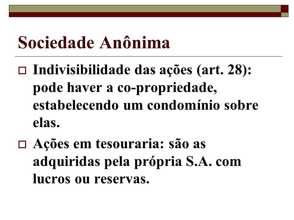Sociedade Anônima Indivisibilidade das ações (art. 28): pode haver a co-propriedade, estabelecendo um condomínio sobre elas. Ações em tesouraria: são
