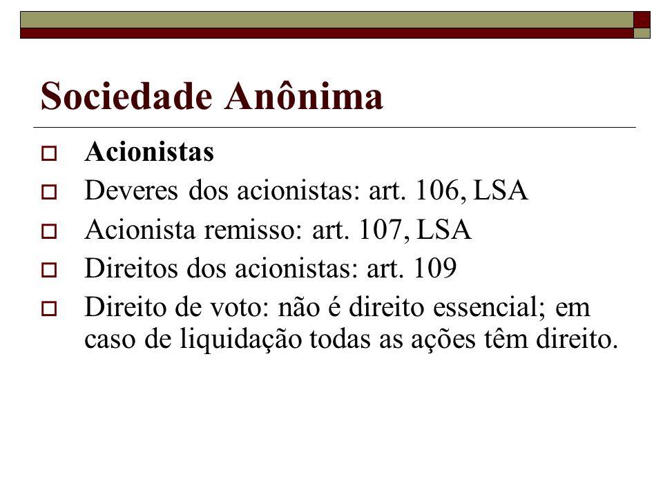 Sociedade Anônima Acionistas Deveres dos acionistas: art. 106, LSA Acionista remisso: art. 107, LSA Direitos dos acionistas: art. 109 Direito de voto: