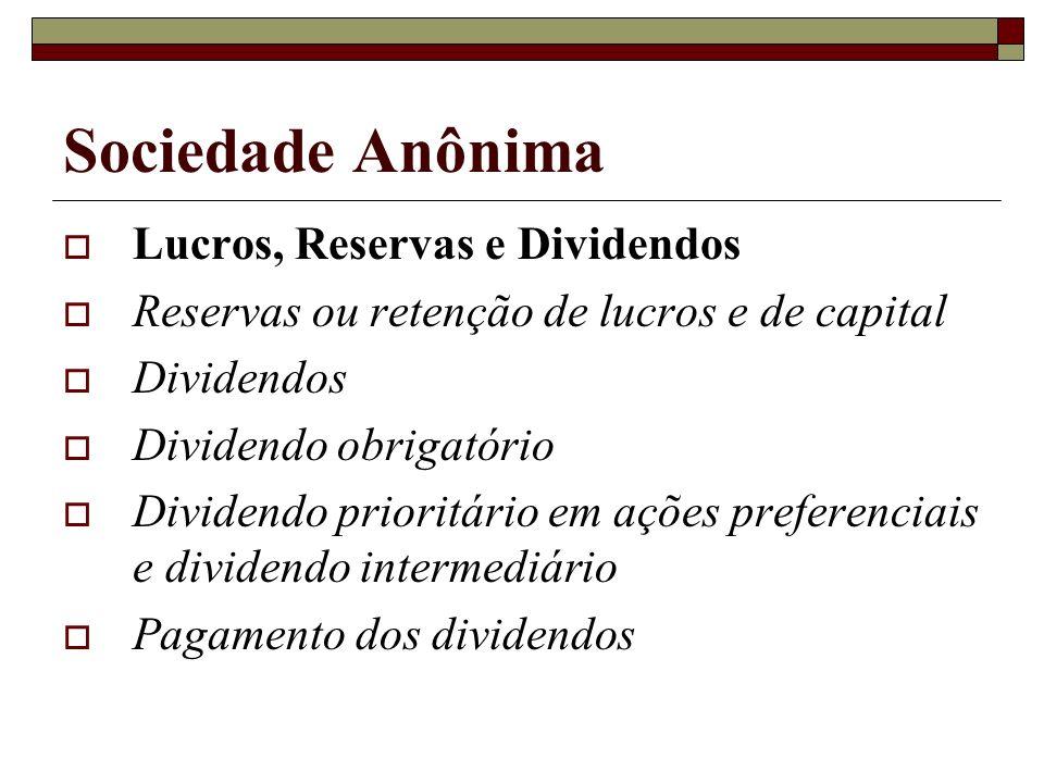 Sociedade Anônima Lucros, Reservas e Dividendos Reservas ou retenção de lucros e de capital Dividendos Dividendo obrigatório Dividendo prioritário em