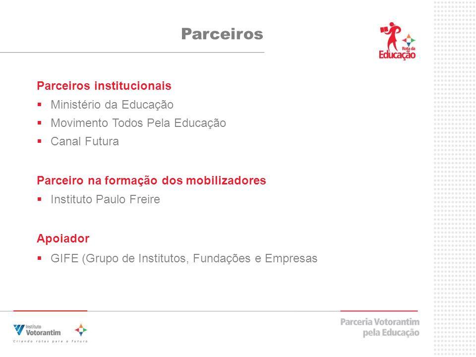 Parceiros Parceiros institucionais Ministério da Educação Movimento Todos Pela Educação Canal Futura Parceiro na formação dos mobilizadores Instituto Paulo Freire Apoiador GIFE (Grupo de Institutos, Fundações e Empresas
