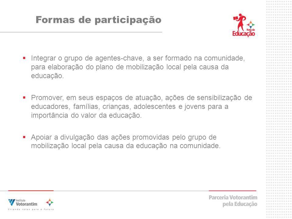 Formas de participação Integrar o grupo de agentes-chave, a ser formado na comunidade, para elaboração do plano de mobilização local pela causa da educação.