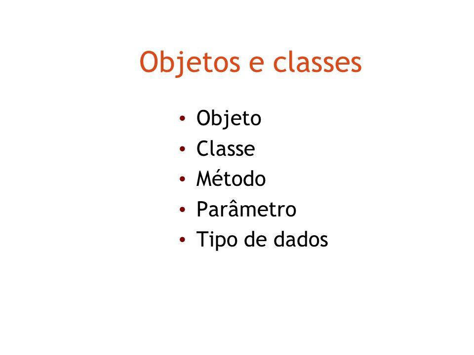 Objetos e classes Objeto Classe Método Parâmetro Tipo de dados