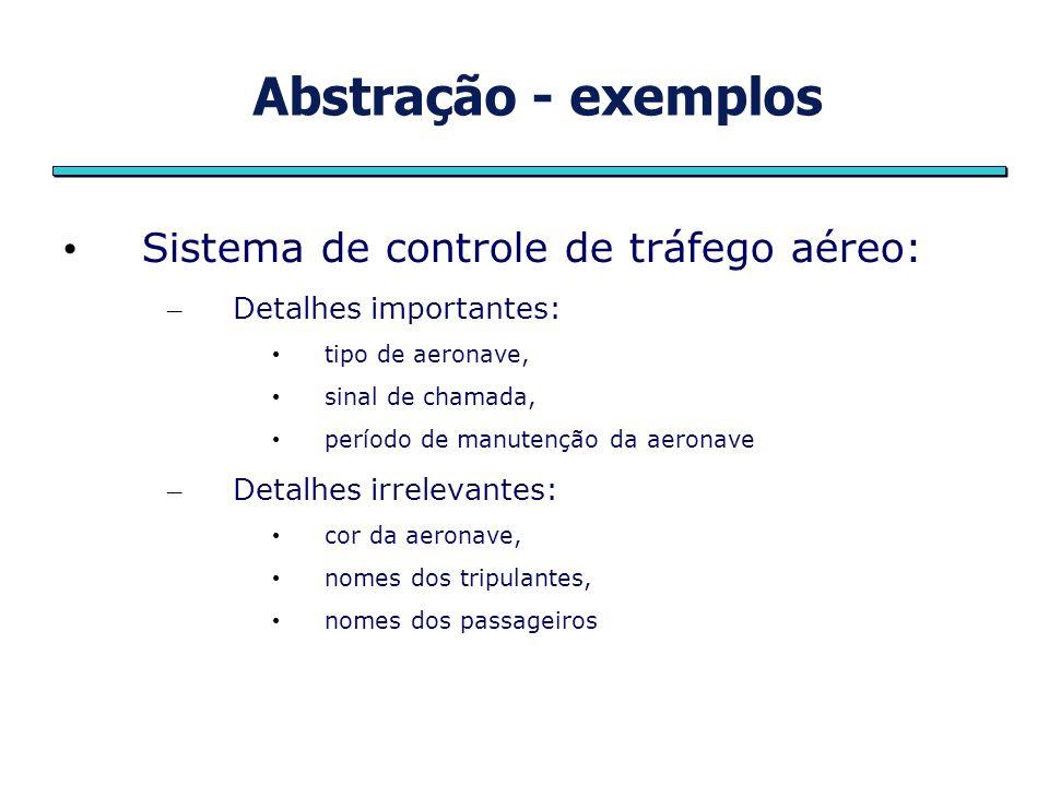 Abstração - exemplos Sistema de controle de tráfego aéreo: – Detalhes importantes: tipo de aeronave, sinal de chamada, período de manutenção da aerona