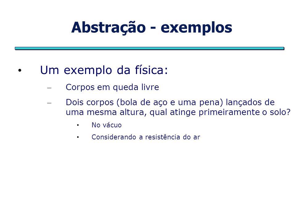 Abstração - exemplos Um exemplo da física: – Corpos em queda livre – Dois corpos (bola de aço e uma pena) lançados de uma mesma altura, qual atinge pr