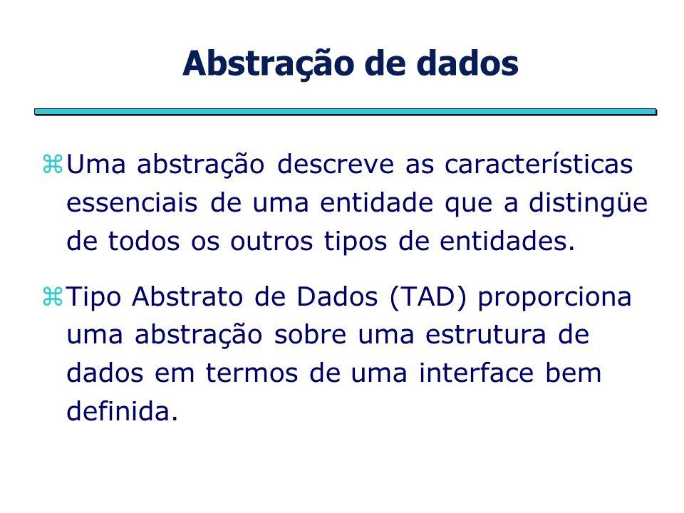 Abstração de dados Uma abstração descreve as características essenciais de uma entidade que a distingüe de todos os outros tipos de entidades. Tipo Ab