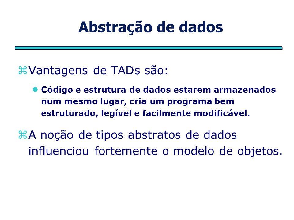Abstração de dados Vantagens de TADs são: Código e estrutura de dados estarem armazenados num mesmo lugar, cria um programa bem estruturado, legível e