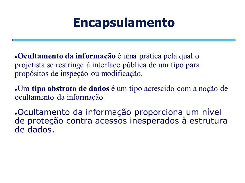 Encapsulamento Ocultamento da informação é uma prática pela qual o projetista se restringe à interface pública de um tipo para propósitos de inspeção