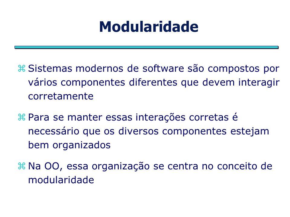 Modularidade Sistemas modernos de software são compostos por vários componentes diferentes que devem interagir corretamente Para se manter essas inter