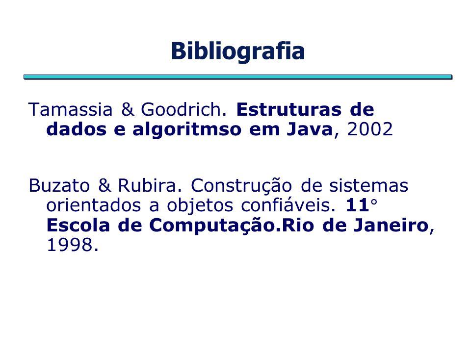 Bibliografia Tamassia & Goodrich. Estruturas de dados e algoritmso em Java, 2002 Buzato & Rubira. Construção de sistemas orientados a objetos confiáve