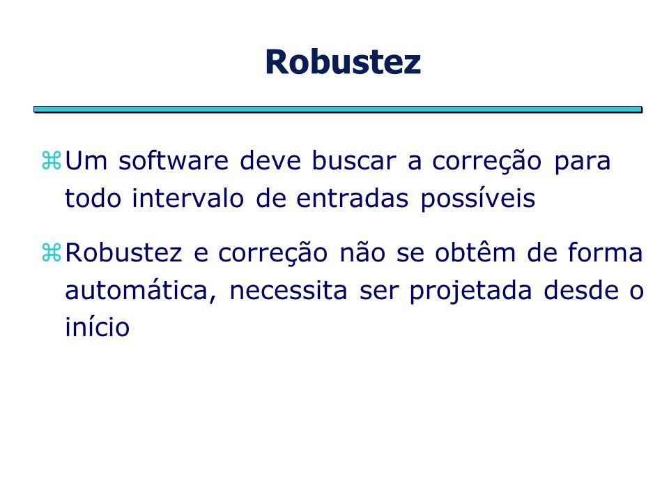 Robustez Um software deve buscar a correção para todo intervalo de entradas possíveis Robustez e correção não se obtêm de forma automática, necessita