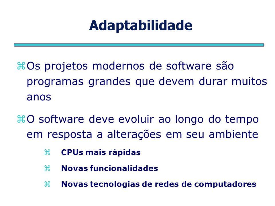 Adaptabilidade Capacidade de evolução (adaptabilidade) é outro objetivo importante a ser atingido em qualidade de software Outro conceito relacionado é a portabilidade Habilidade que um software tem de ser executado, com alterações mínimas, em diferentes plataformas de hardware ou sistemas operacionais