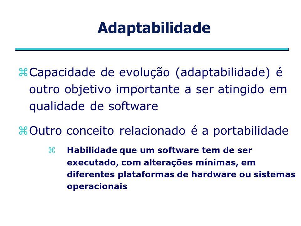 Adaptabilidade Capacidade de evolução (adaptabilidade) é outro objetivo importante a ser atingido em qualidade de software Outro conceito relacionado
