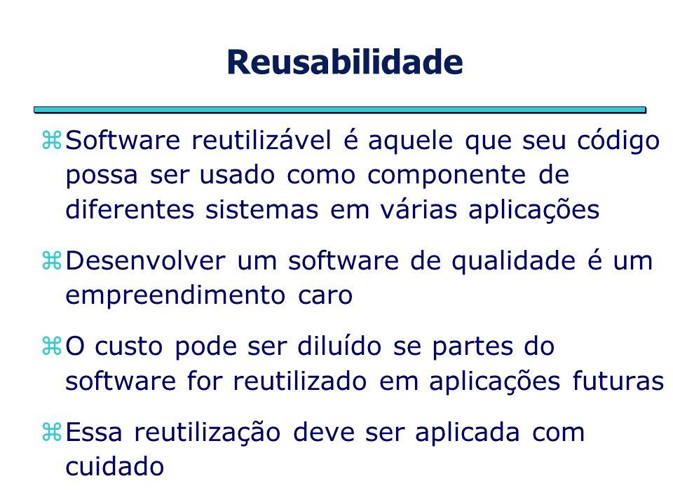 Reusabilidade Software reutilizável é aquele que seu código possa ser usado como componente de diferentes sistemas em várias aplicações Desenvolver um