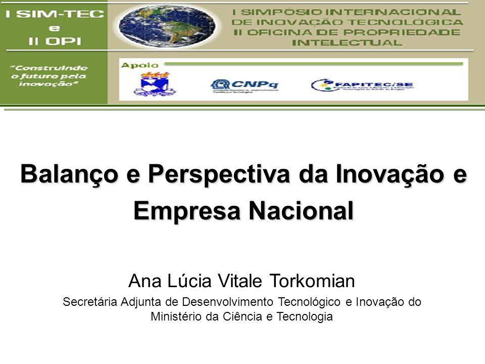 Ana Lúcia Vitale Torkomian Secretária Adjunta de Desenvolvimento Tecnológico e Inovação do Ministério da Ciência e Tecnologia Balanço e Perspectiva da