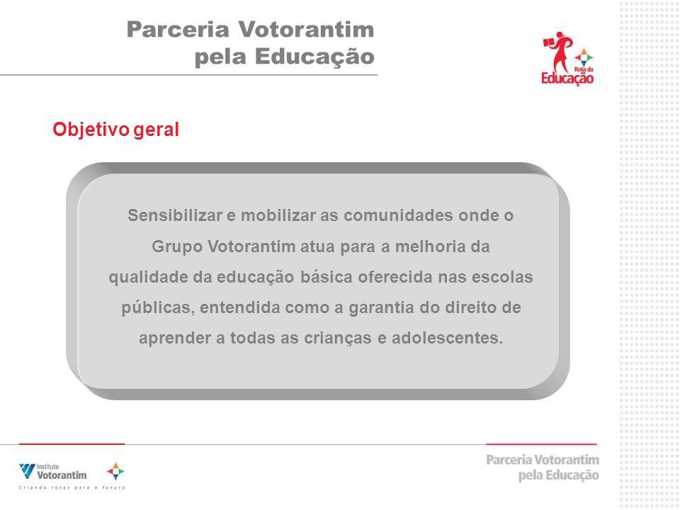Objetivo geral Parceria Votorantim pela Educação Sensibilizar e mobilizar as comunidades onde o Grupo Votorantim atua para a melhoria da qualidade da