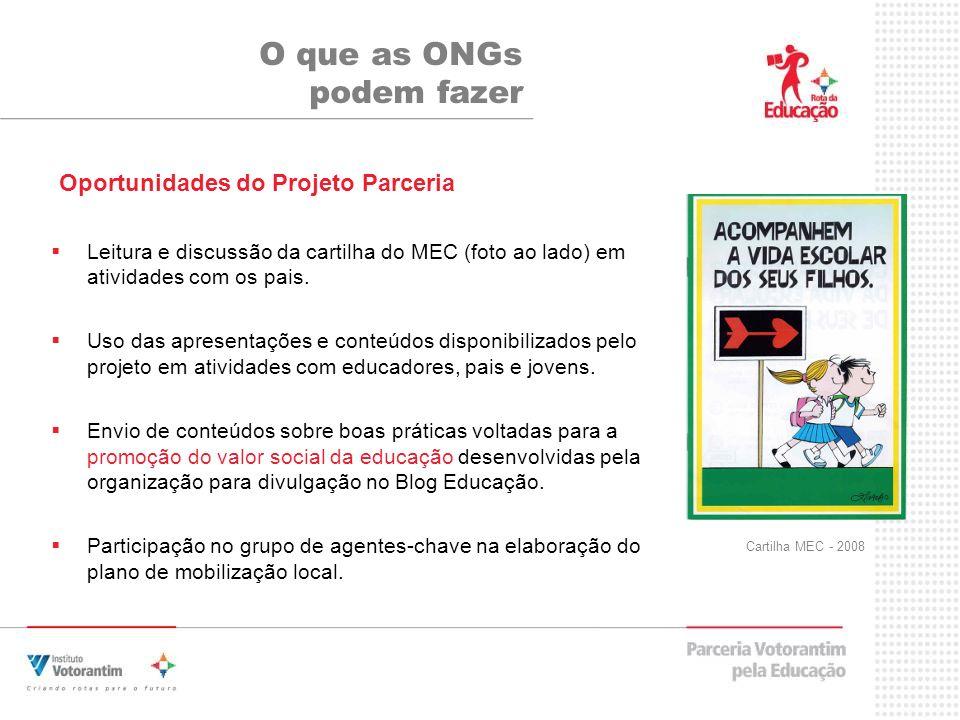 Leitura e discussão da cartilha do MEC (foto ao lado) em atividades com os pais.
