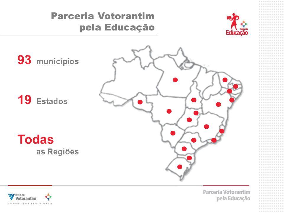 93 municípios 19 Estados Todas as Regiões Parceria Votorantim pela Educação