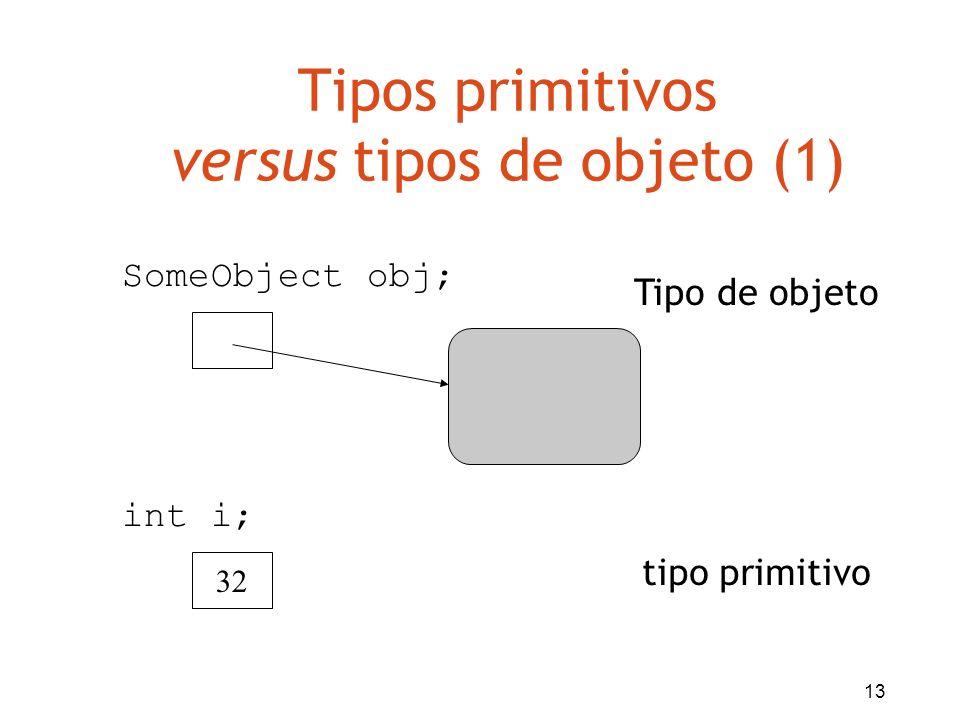 13 Tipos primitivos versus tipos de objeto (1) 32 Tipo de objeto tipo primitivo SomeObject obj; int i;