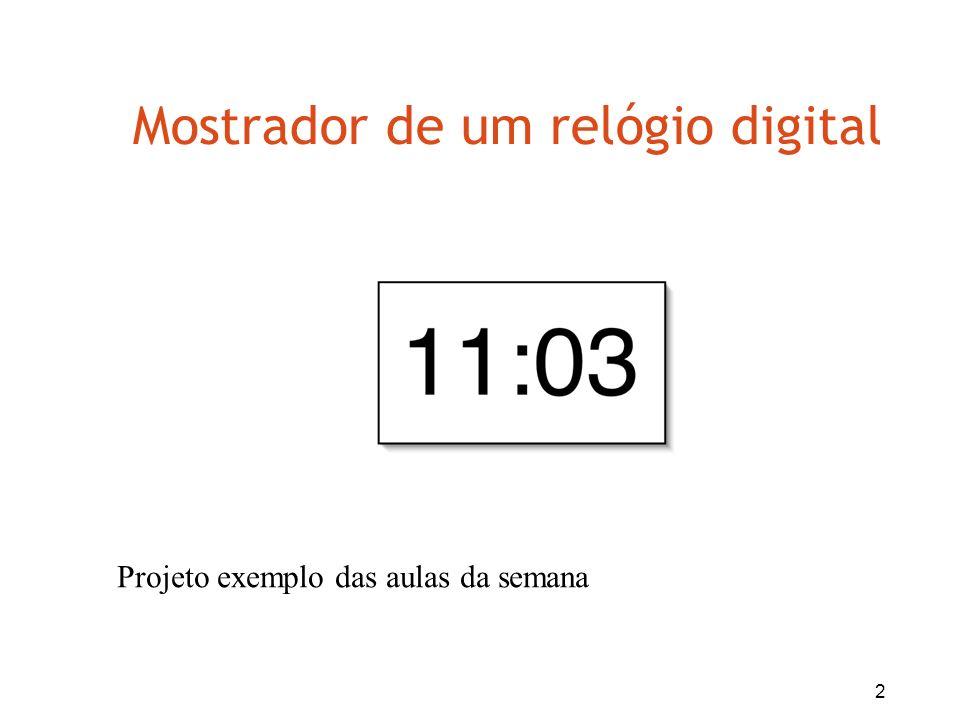 2 Mostrador de um relógio digital Projeto exemplo das aulas da semana