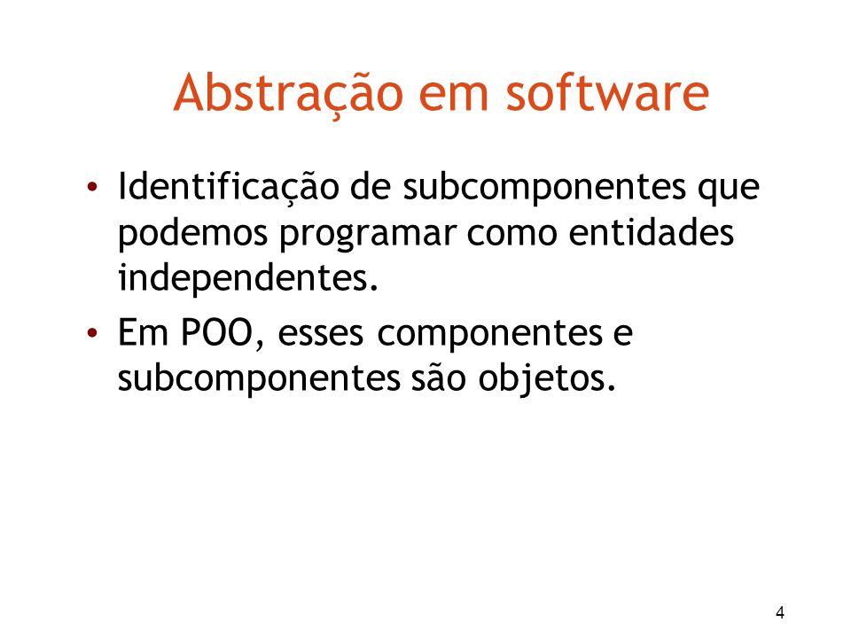 4 Abstração em software Identificação de subcomponentes que podemos programar como entidades independentes. Em POO, esses componentes e subcomponentes