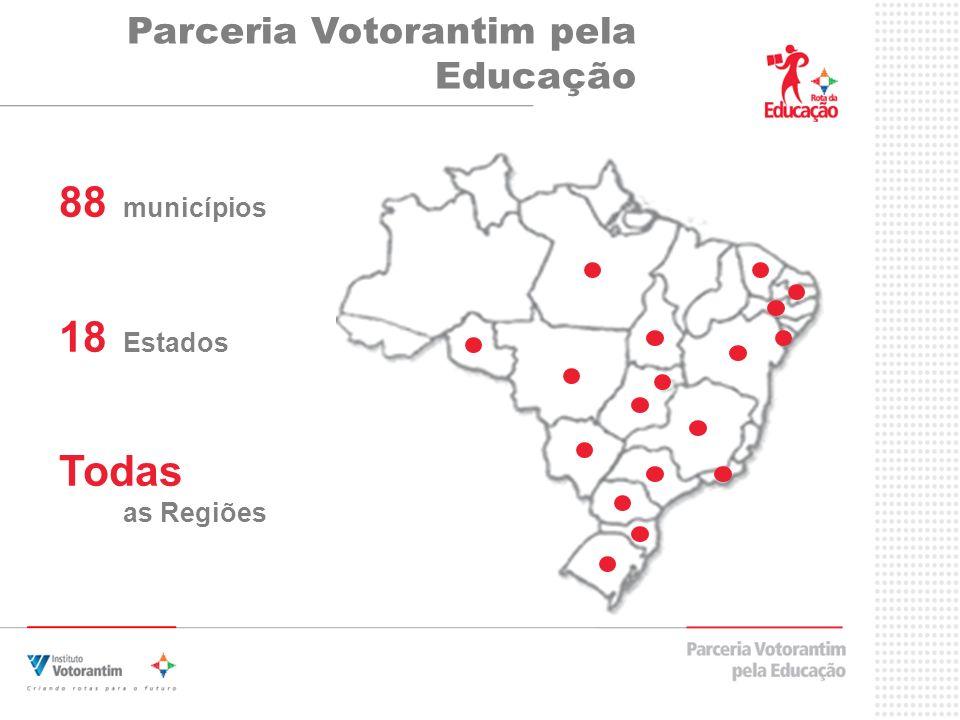 Parceria Votorantim pela Educação 88 municípios 18 Estados Todas as Regiões