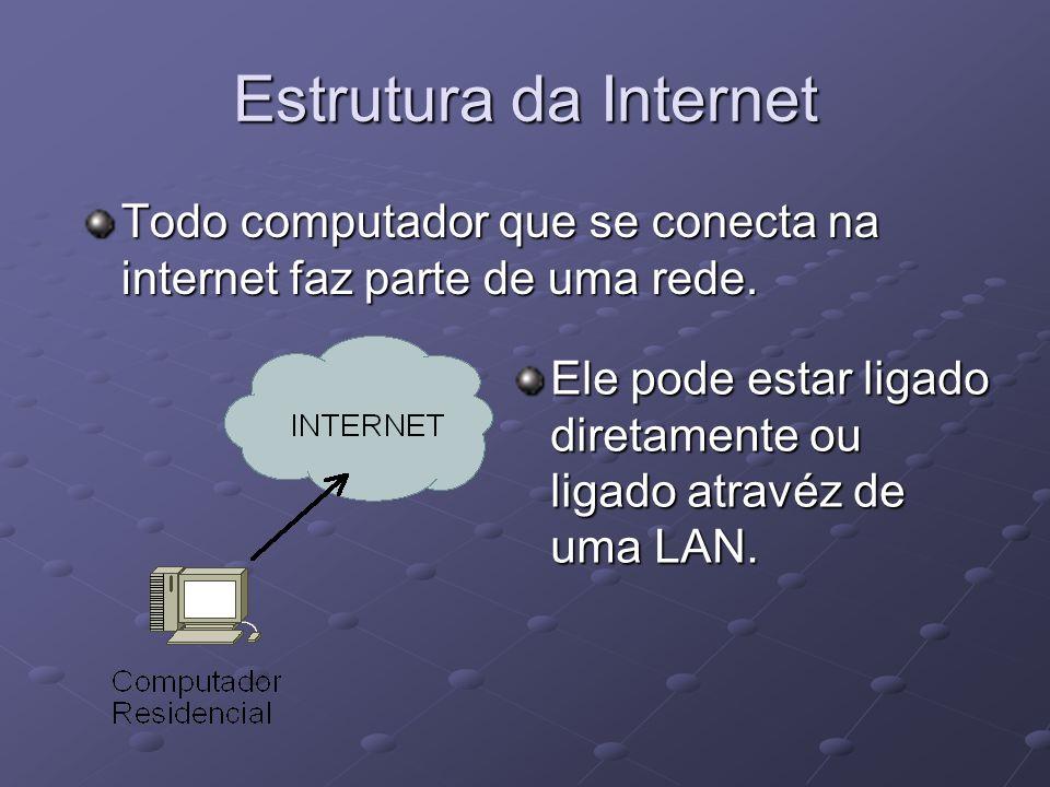 Todo computador que se conecta na internet faz parte de uma rede. Ele pode estar ligado diretamente ou ligado atravéz de uma LAN.