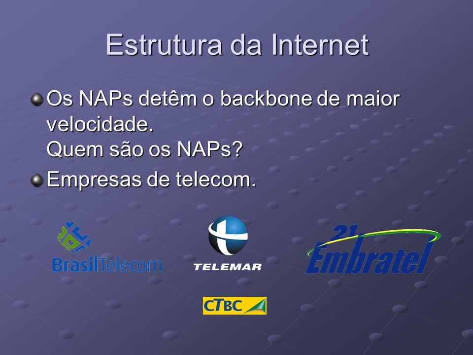 Estrutura da Internet Os NAPs detêm o backbone de maior velocidade. Quem são os NAPs? Empresas de telecom.