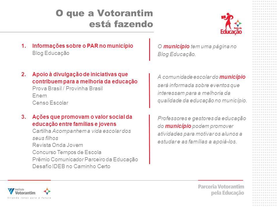 O que a Votorantim está fazendo 1.Informações sobre o PAR no município Blog Educação 2.Apoio à divulgação de iniciativas que contribuem para a melhori