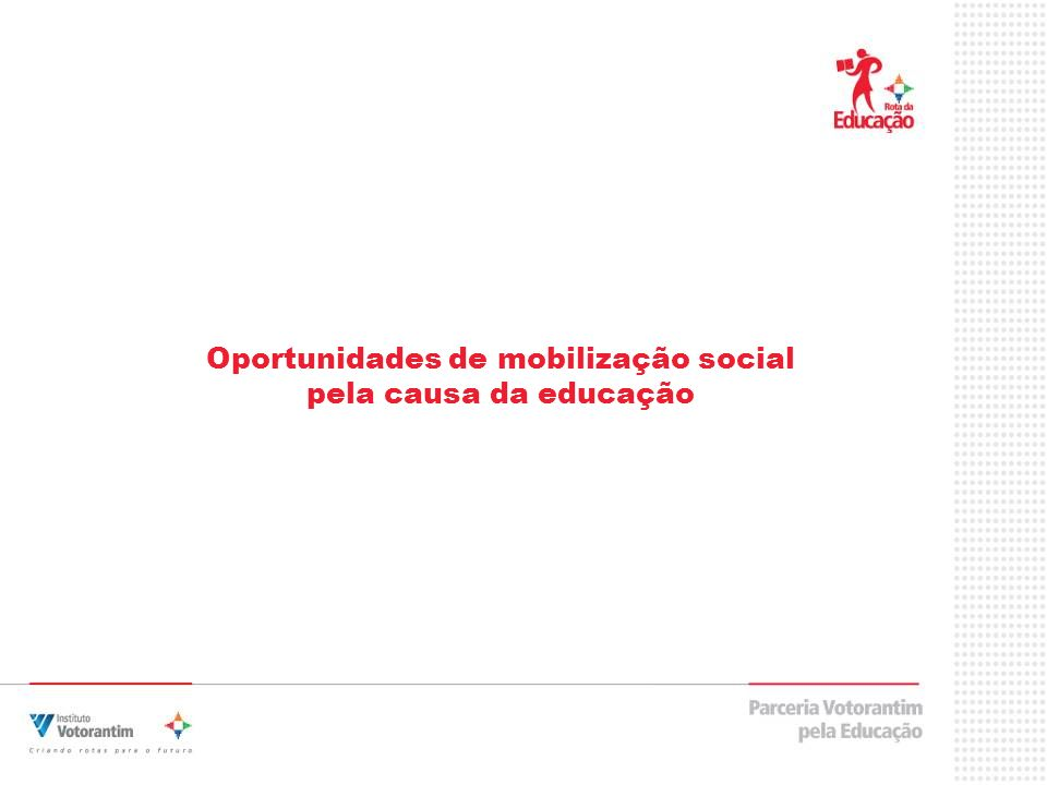 Oportunidades de mobilização social pela causa da educação