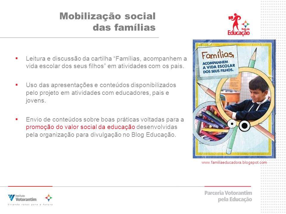 Leitura e discussão da cartilha Famílias, acompanhem a vida escolar dos seus filhos em atividades com os pais.
