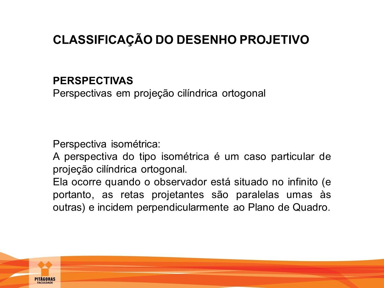 CLASSIFICAÇÃO DO DESENHO PROJETIVO PERSPECTIVAS Perspectivas em projeção cilíndrica ortogonal Perspectiva isométrica: A perspectiva do tipo isométrica