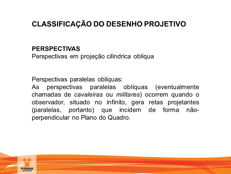CLASSIFICAÇÃO DO DESENHO PROJETIVO PERSPECTIVAS Perspectivas em projeção cilíndrica oblíqua Perspectivas paralelas oblíquas: As perspectivas paralelas