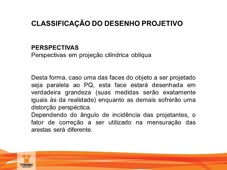 CLASSIFICAÇÃO DO DESENHO PROJETIVO PERSPECTIVAS Perspectivas em projeção cilíndrica oblíqua Desta forma, caso uma das faces do objeto a ser projetado