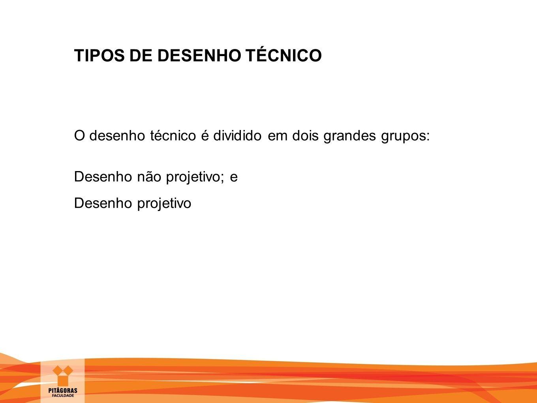 TIPOS DE DESENHO TÉCNICO O desenho técnico é dividido em dois grandes grupos: Desenho não projetivo; e Desenho projetivo