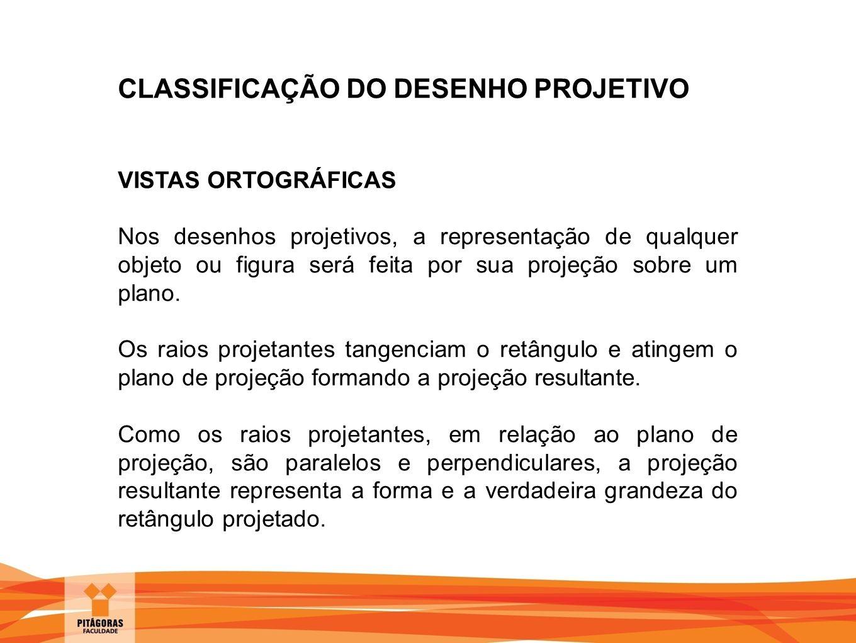 CLASSIFICAÇÃO DO DESENHO PROJETIVO VISTAS ORTOGRÁFICAS Das projeções ortogonais surgem as seguintes conclusões: