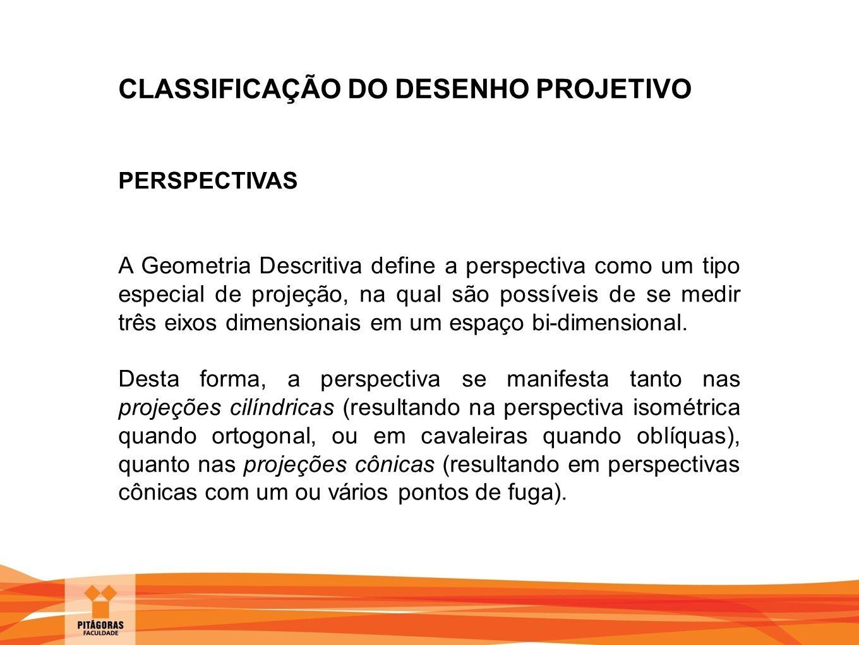 CLASSIFICAÇÃO DO DESENHO PROJETIVO PERSPECTIVAS A Geometria Descritiva define a perspectiva como um tipo especial de projeção, na qual são possíveis d