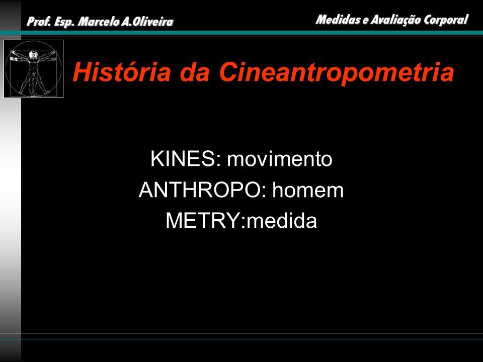 Prof. Esp. Marcelo A.Oliveira Medidas e Avaliação Corporal História da Cineantropometria KINES: movimento ANTHROPO: homem METRY:medida